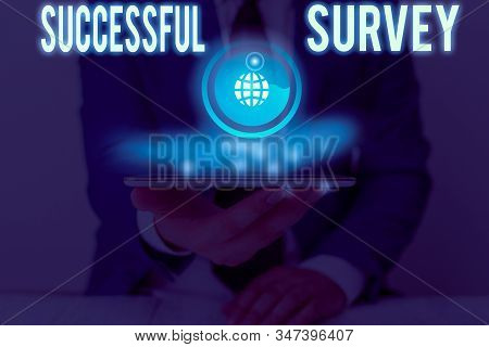 Handwriting text writing Successful Survey. Concept meaning measure of opinions or experiences of a group of showing. stock photo