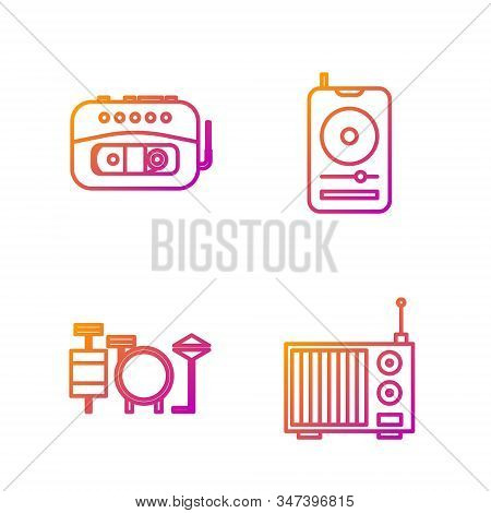 Set line Radio with antenna, Drums, Music tape player and Music player. Gradient color icons. Vector stock photo