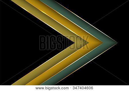 Polygonal arrow with gold triangle edge lines banner vector design. Stylish business background template. Trendy tech vector graphics. Poly gradient shapes with metallic glossy edge lines. stock photo