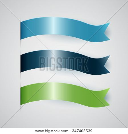 Colorful ribbon for title, design of promotional products, use to highlight title or promotional information. Banner, ribbon for web or print, vector illustration stock photo