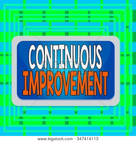 Text sign showing Continuous Improvement. Conceptual photo ongoing effort to improve products or processes Board rectangle white frame empty blank space fixed color surface plank. stock photo