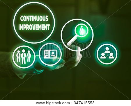 Handwriting text writing Continuous Improvement. Concept meaning ongoing effort to improve products or processes. stock photo