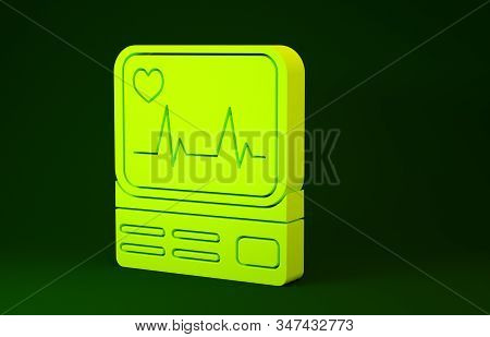 Yellow Computer monitor with cardiogram icon isolated on green background. Monitoring icon. ECG monitor with heart beat hand drawn. Minimalism concept. 3d illustration 3D render stock photo