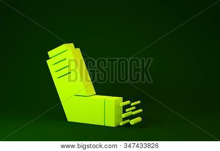 Yellow Inhaler icon isolated on green background. Breather for cough relief, inhalation, allergic patient. Medical allergy asthma inhaler spray. Minimalism concept. 3d illustration 3D render stock photo