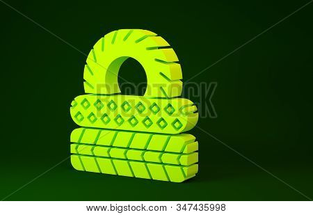 Yellow Car tire icon isolated on green background. Minimalism concept. 3d illustration 3D render stock photo