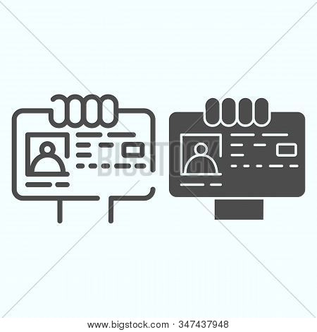 ID Document in hand line and solid icon. ID card illustration isolated on white. Document with photo outline style design, designed for web and app. Eps 10. stock photo