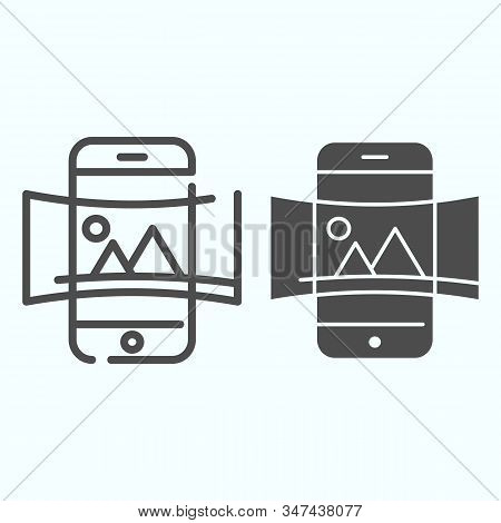 Panorama line and solid icon. Picture panorama in smartphone vector illustration isolated on white. Nature panorama photo with picture outline style design, designed for web and app. Eps 10. stock photo