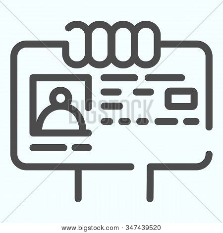 ID Document in hand line icon. ID card illustration isolated on white. Document with photo outline style design, designed for web and app. Eps 10. stock photo