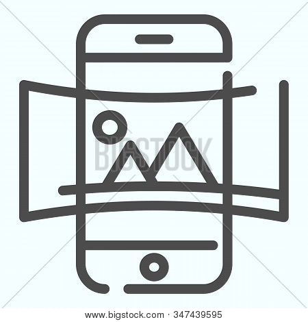 Panorama line icon. Picture panorama in smartphone vector illustration isolated on white. Nature panorama photo with picture outline style design, designed for web and app. Eps 10. stock photo