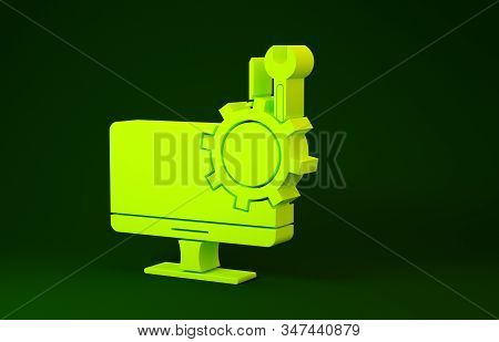 Yellow Computer monitor with screwdriver and wrench icon isolated on green background. Adjusting, service, setting, maintenance, repair. Minimalism concept. 3d illustration 3D render stock photo