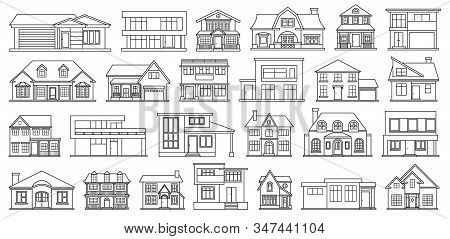 Villa of house vector Outline, line set icon.Vector illustration building of home.Isolated Outline, line set icon villa of house on white background . stock photo
