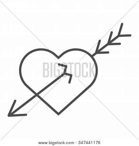 Love heart and arrow thin line icon. Valentine Day love heart illustration isolated on white. Heart pierced with arrow outline style design, designed for web and app. Eps 10. stock photo