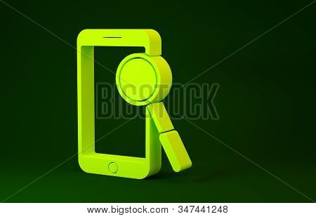 Yellow Mobile phone diagnostics icon isolated on green background. Adjusting app, service, setting options, maintenance, repair, fixing. Minimalism concept. 3d illustration 3D render stock photo