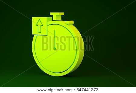 Yellow Stopwatch icon isolated on green background. Time timer sign. Chronometer sign. Minimalism concept. 3d illustration 3D render stock photo