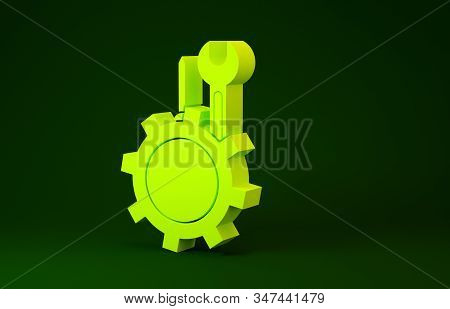 Yellow Wrench and screwdriver in gear icon isolated on green background. Adjusting, service, setting, maintenance, repair, fixing. Minimalism concept. 3d illustration 3D render stock photo