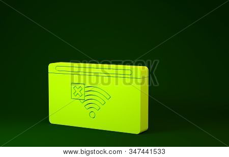 Yellow No Internet connection icon isolated on green background. No wireless wifi or sign for remote internet access. Minimalism concept. 3d illustration 3D render stock photo
