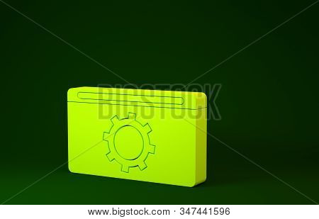 Yellow Setting icon isolated on green background. Adjusting, service, maintenance, repair, fixing. Minimalism concept. 3d illustration 3D render stock photo