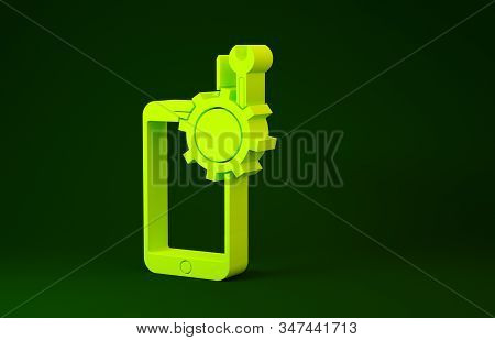 Yellow Mobile phone with screwdriver and wrench icon isolated on green background. Adjusting, service, setting, maintenance, repair. Minimalism concept. 3d illustration 3D render stock photo