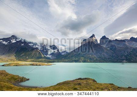 Beautiful mountain landscapes in Torres Del Paine National Park, Chile. World famous hiking region. stock photo