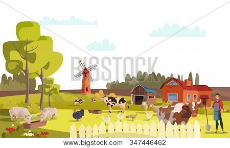 Farm flat vector illustration. Summer farm landscape with mill, cattle, poultry. Cows, pigs, chicken, turkeys graze. Rural scenery with barn, trees, flowers. Farming, agricultural work stock photo
