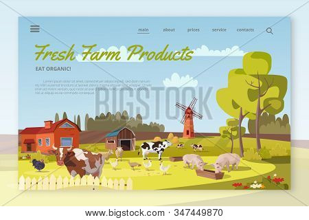 Fresh Farm Products landing page layout. Summer farm landscape with mill, cattle, poultry. Cows, pigs, chicken, turkeys graze. Rural scenery with barn, trees, flowers. Farming, agricultural work stock photo