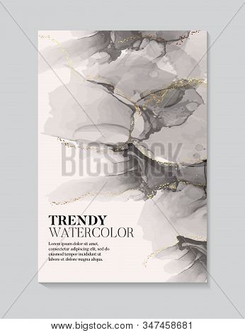 Hand painted alcohol ink texture black beige pastel volors with gold flow. Abstract watercolor liquid flow background stock photo