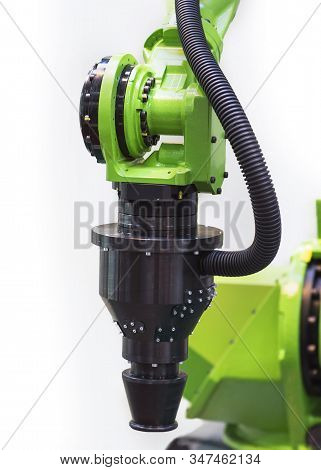 Augmented reality for industry concept. Robotic and Automation system control application on automate robot arm in white background stock photo