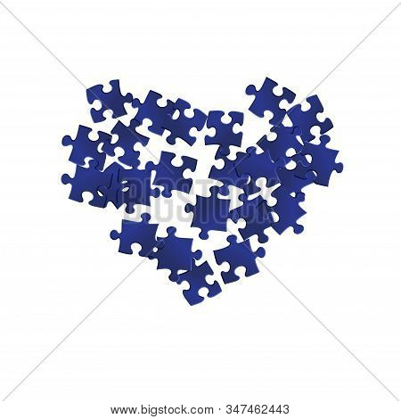 Business teaser jigsaw puzzle dark blue pieces vector background. Group of puzzle pieces isolated on white. Challenge abstract concept. Jigsaw pieces clip art. stock photo