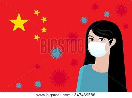 Coronavirus in China. Novel coronavirus 2019-nCoV . Asian woman in a protective medical mask on the background of the Chinese flag and virus molecules. MERS-Cov. Concept of coronavirus quarantine stock photo