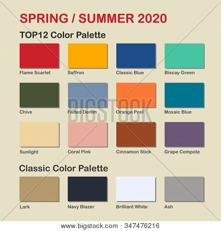 Spring / Summer 2020 trendy color palette. Fashion color trend. Palette guide with named color swatches. Saturated and classic neutral color samples set. Vector Illustration stock photo