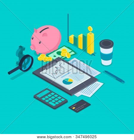 Color Accounting Concept 3d Isometric View Include of Graph, Report, Money and Calculator. Vector illustration of Icon stock photo
