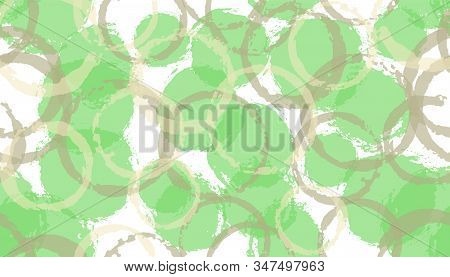 Modern watercolor circles geometry fabric print. Circular blob overlapping elements vector seamless pattern. Paint texture circles geometry fabric design. stock photo