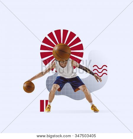 Creative sport and geometric style. Basketball player in action, motion on blue background. Negative space to insert your text or ad. Modern design. Contemporary colorful and bright art collage. stock photo