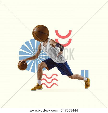 Creative sport and geometric style. Basketball player in action, motion on yellow background. Negative space to insert your text or ad. Modern design. Contemporary colorful and bright art collage. stock photo