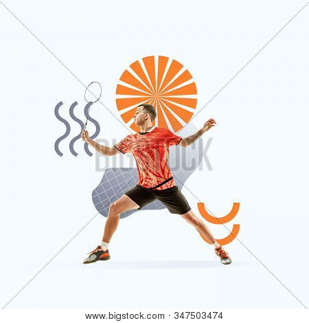 Creative sport and geometric style. Tennis player in action, motion on light background. Negative space to insert your text or ad. Modern design. Contemporary colorful and bright art collage. stock photo
