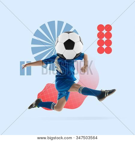 Creative sport and geometric style. Football, soccer player in action, motion on blue background. Negative space to insert your text or ad. Modern design. Contemporary colorful and bright art collage. stock photo