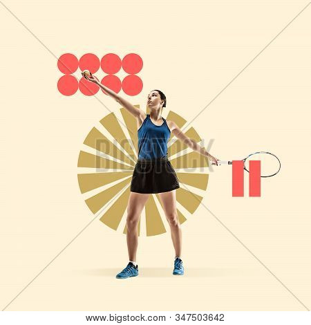 Creative sport and geometric style. Tennis player in action, motion on yellow background. Negative space to insert your text or ad. Modern design. Contemporary colorful and bright art collage. stock photo