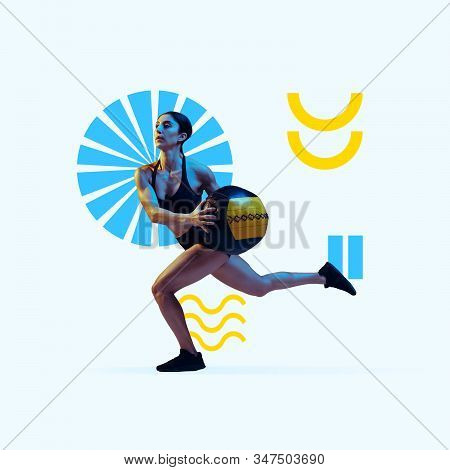 Creative sport and geometric style. Female athlete, fitness in action, motion on purple background. Copyspace to insert your text or ad. Modern design. Contemporary colorful and bright art collage. stock photo