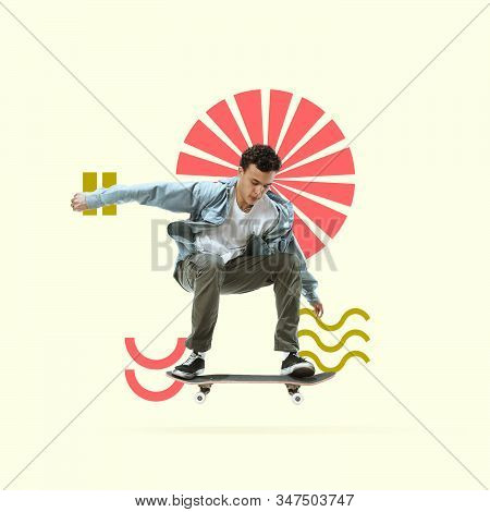 Creative sport and geometric style. Young male skater in action, motion on yellow background. Negative space to insert your text or ad. Modern design. Contemporary colorful and bright art collage. stock photo