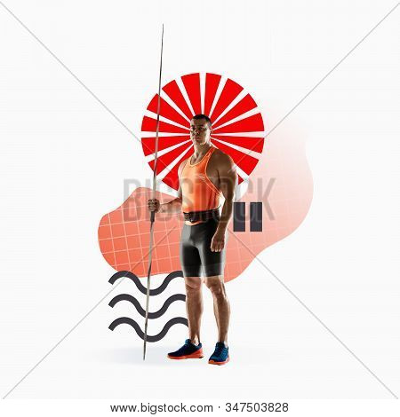 Creative sport and geometric style. Javelin throwing in action, motion on white background. Negative space to insert your text or ad. Modern design. Contemporary colorful and bright art collage. stock photo