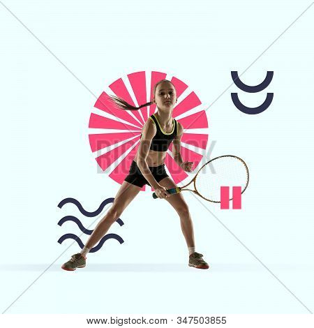 Creative sport and geometric style. Tennis player in action, motion on blue background. Negative space to insert your text or ad. Modern design. Contemporary colorful and bright art collage. stock photo