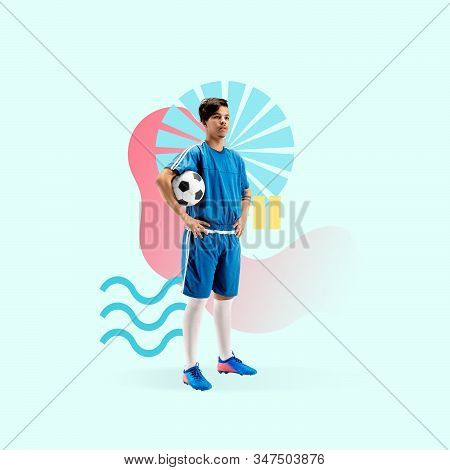 Creative sport and geometric style. Football, soccer player in action, motion on green background. Negative space to insert your text or ad. Modern design. Contemporary colorful and bright art collage. stock photo