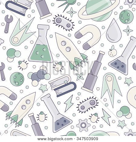 Back to school pattern. Science flat seamless pattern with scientific elements - molecule, atom structure, rocket, books, water and other on one simple educational and school seamless pattern. stock photo