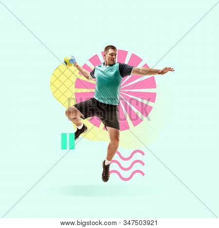 Creative sport and geometric style. Handball player in action, motion on blue background. Negative space to insert your text or ad. Modern design. Contemporary colorful and bright art collage. stock photo