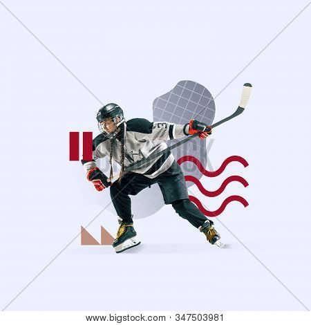 Creative sport and geometric style. Female hockey player in action, motion on grey background. Negative space to insert your text or ad. Modern design. Contemporary colorful and bright art collage. stock photo