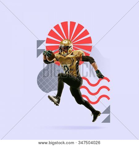 Creative sport and geometric style. American football player in action, motion on purple background. Copyspace to insert your text or ad. Modern design. Contemporary colorful and bright art collage. stock photo