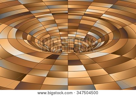 Tunnel or wormhole. Digital wireframe tunnel. 3D tunnel grid. Background abstract vector image stock photo