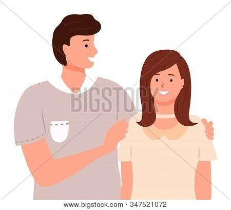 Smiling man and woman standing together. Happy boyfriend embracing girlfriend. People lovers or friends in casual clothes hugging. Male and female cartoon characters isolated on white vector stock photo