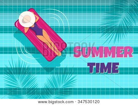 The young woman swims in the pool top view. Hello Summer, summer time, summer day, summer day background, summer banners, summer flyer, summer design, summer with people in the pool, vector illustration. A woman swims in a pool on an air mattress, enjoyin stock photo