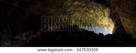 View inside Deer cave in Gunung Mulu National Park Borneo Sarawak Malaysia stock photo